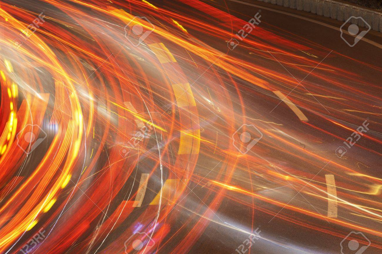 The car light trails Stock Photo - 18172624
