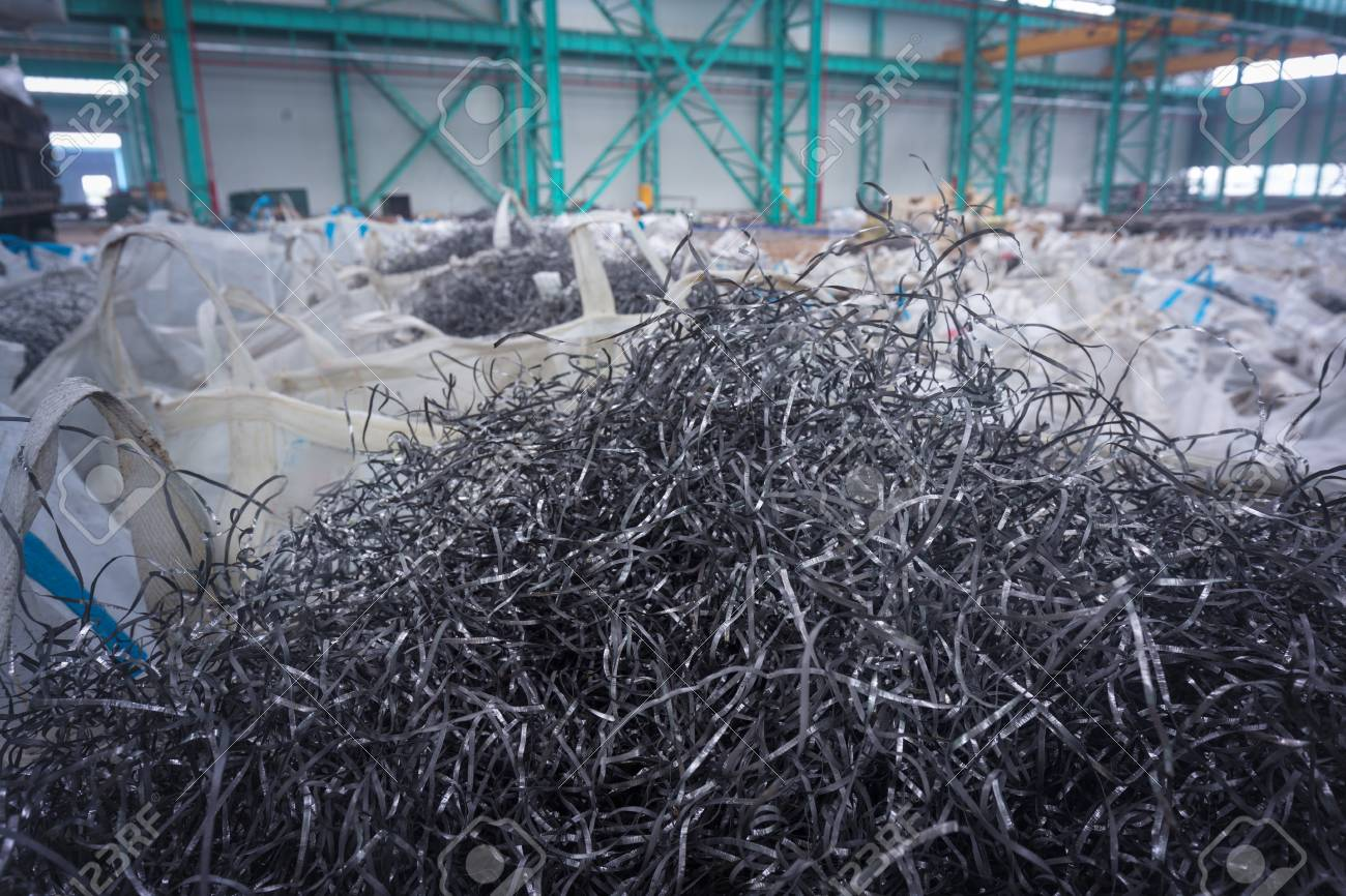 Industrial waste from metal processing plants, packaged waste