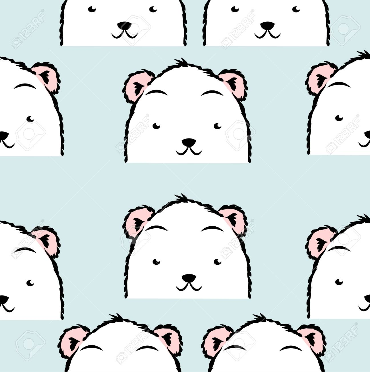 Lindo Patrón De Oso Polar Ilustraciones Vectoriales, Clip Art ...
