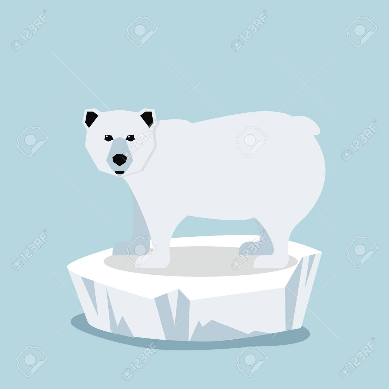 Cute Polar bear on ice floe Vector illustration. - 84517716
