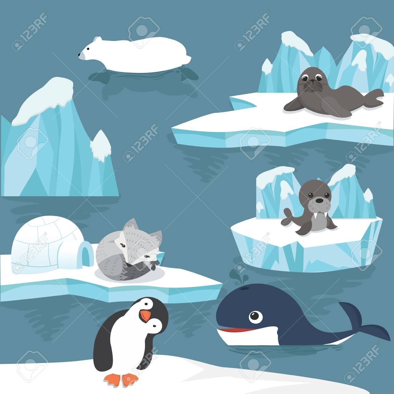 arctic animals cartoon background - 92239505