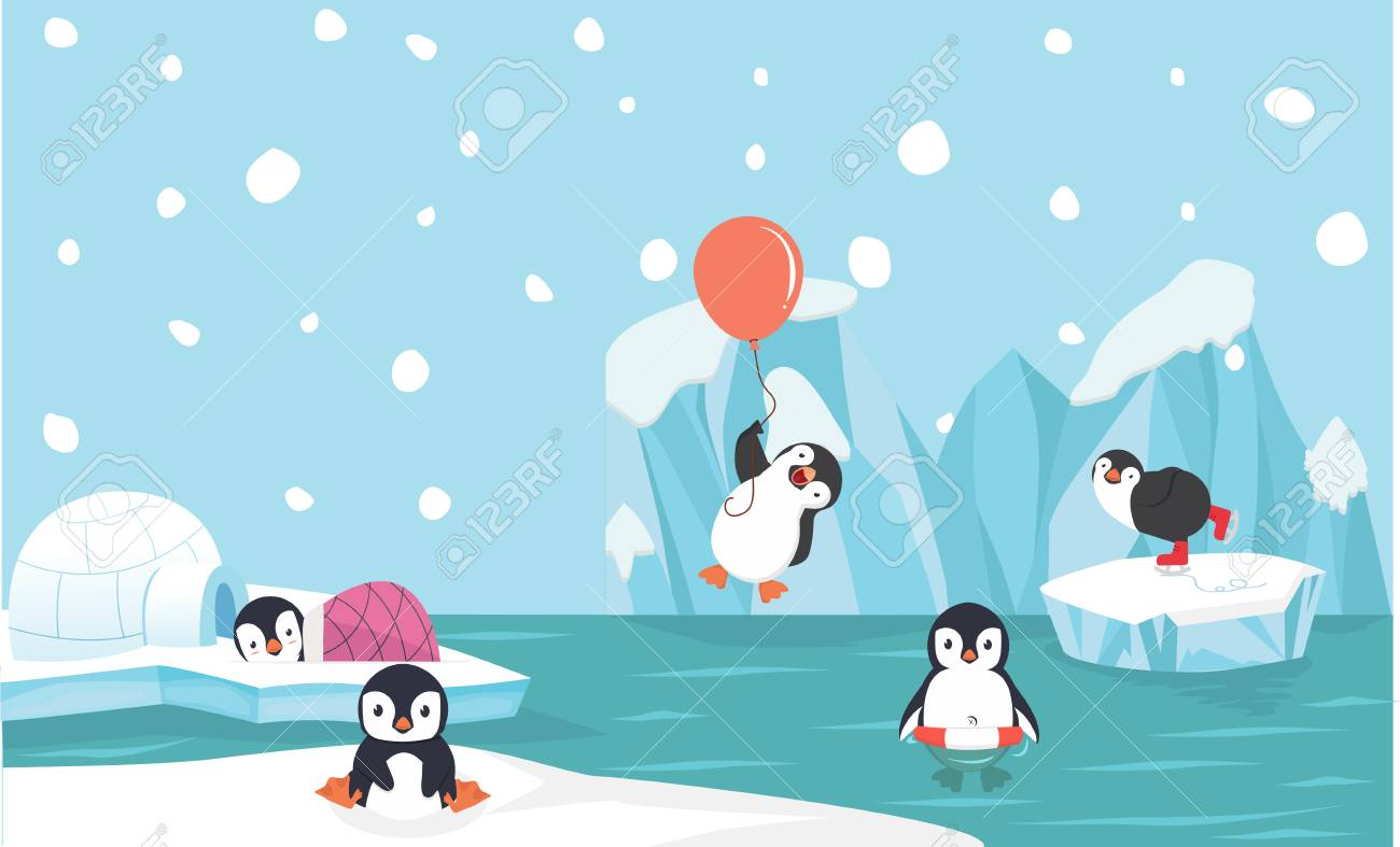Cute penguin characters set withNorth pole background - 108890677