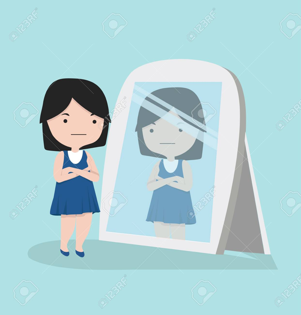 Small girl looking standing in front of the mirror - 110900977