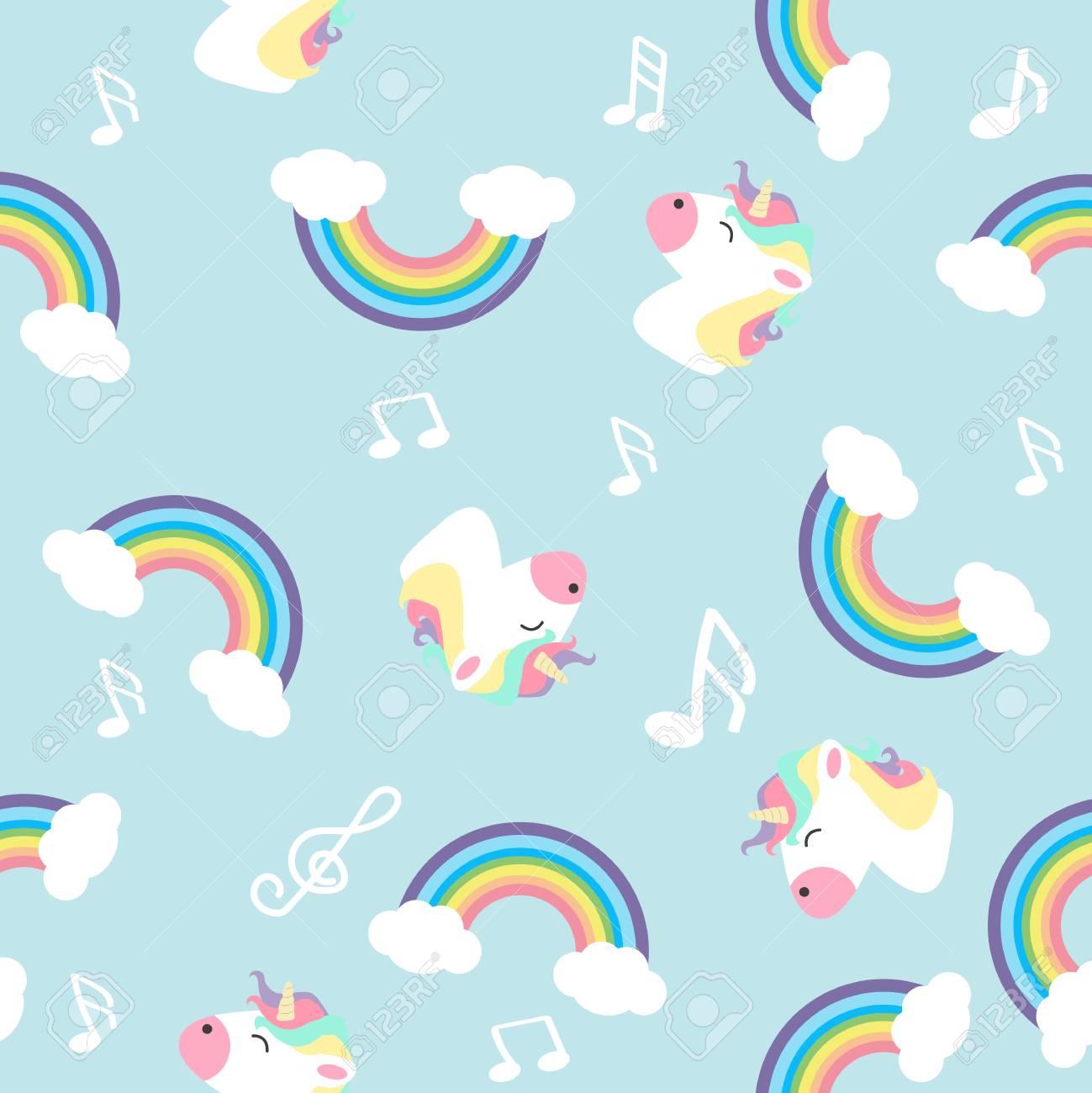 Pastel rainbow unicorn with note seamless pattern - 125555942