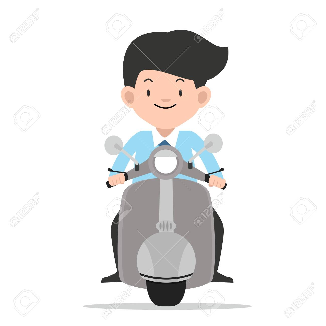businessman driving front view motorbike vector - 128515329
