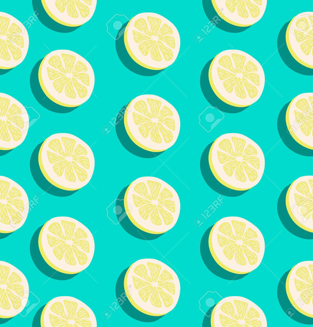 Summer slice of a lemon fruits seamless pattern background - 154269603