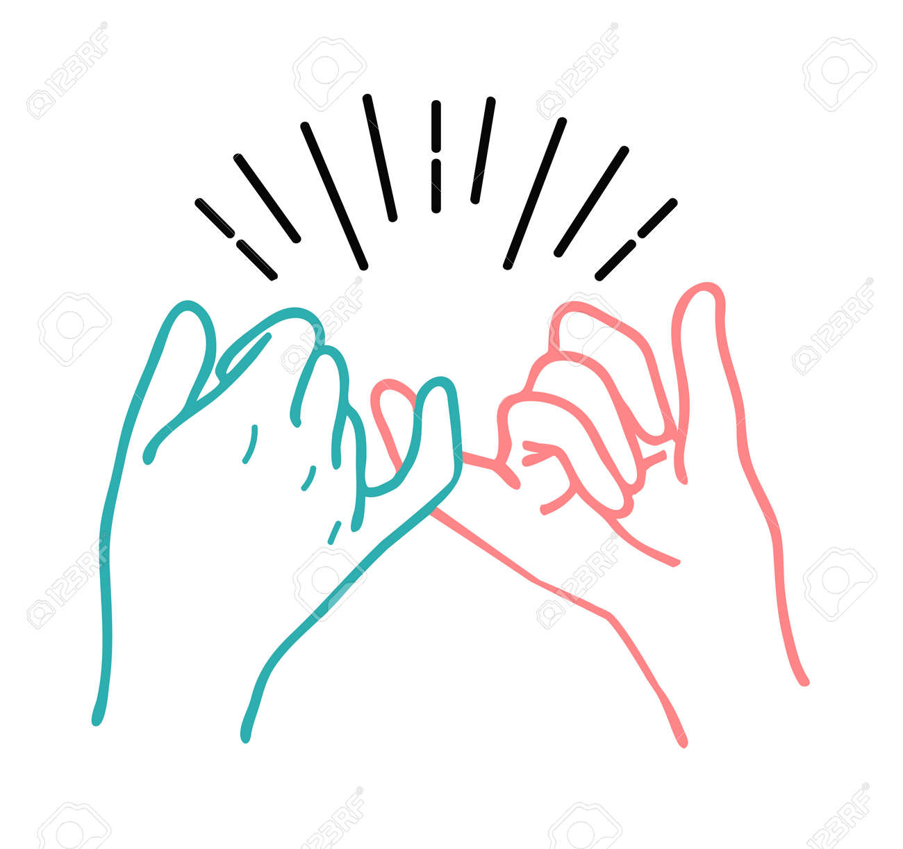 Hand drawn Pinky swear promise hand vector illustration icon - 168919719