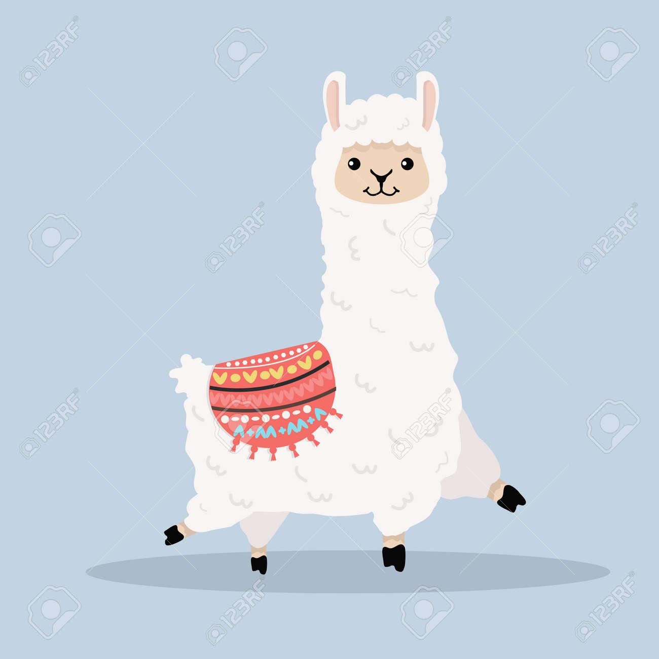 Cute alpaca fluffy cartoon vector - 168919927