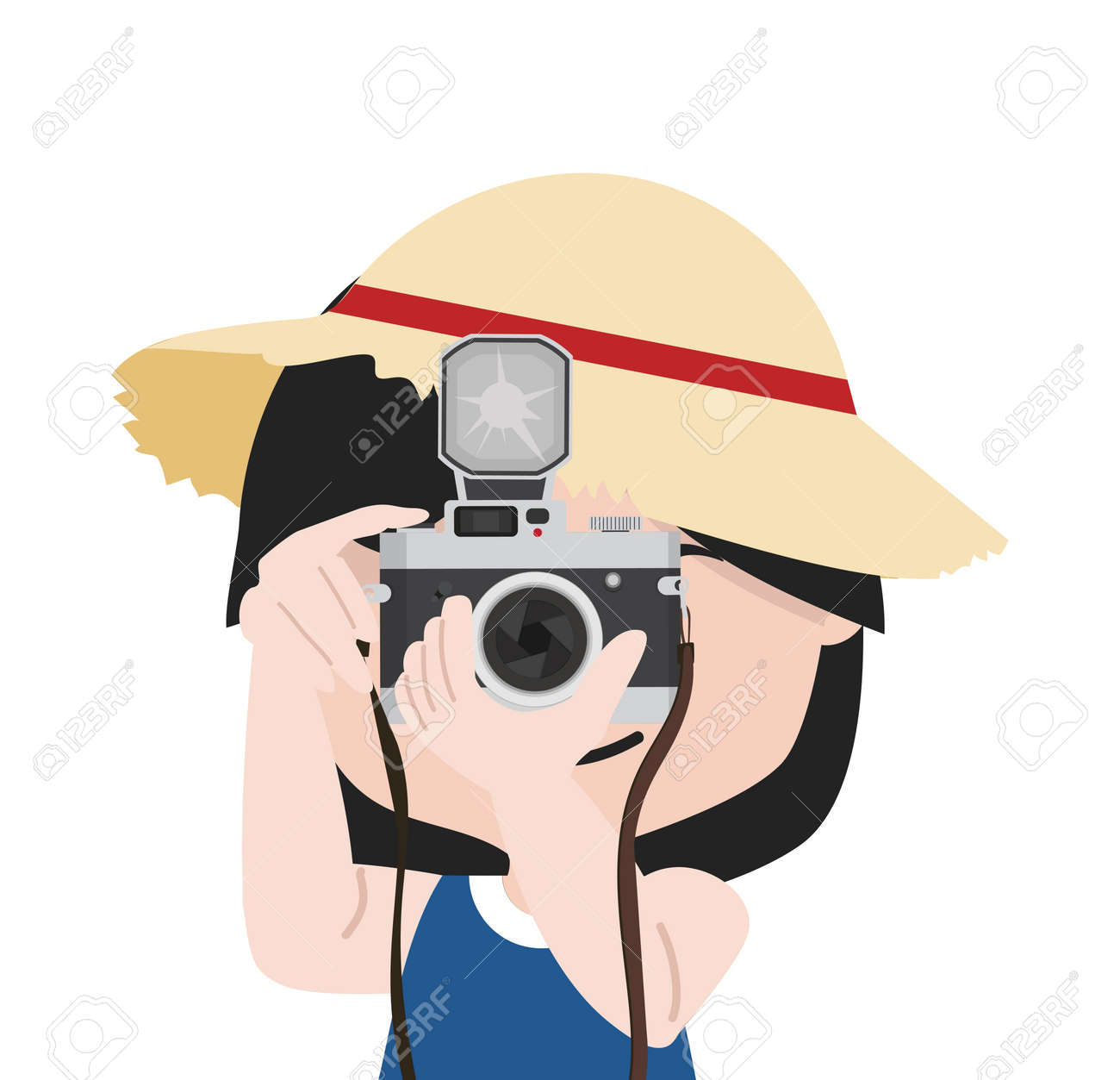 Small girl with camera is taking pictures with straw hat cartoon - 168920159