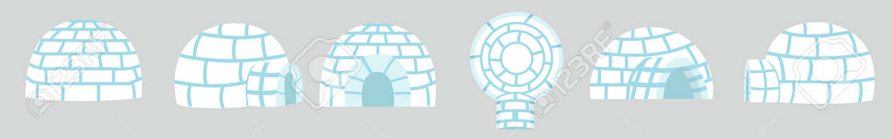 Igloos ice house in flat design set - 168920174