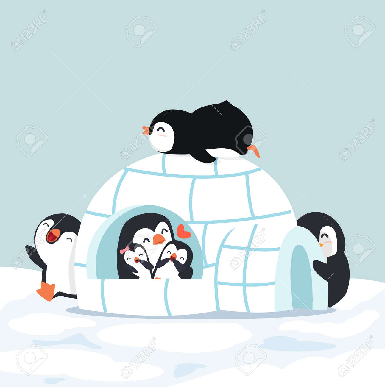 Cute Penguins Igloo ice house in winter - 168920191