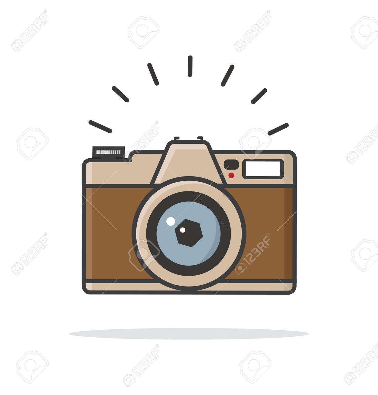 Flat style vintage camera vector sign icon - 168920263