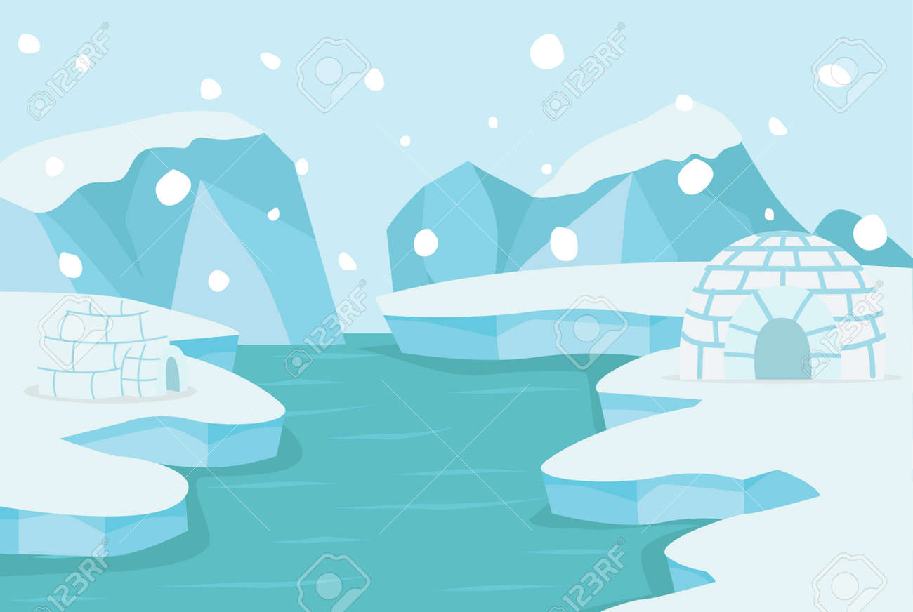 North pole Arctic landscape with ice igloo background - 168920284