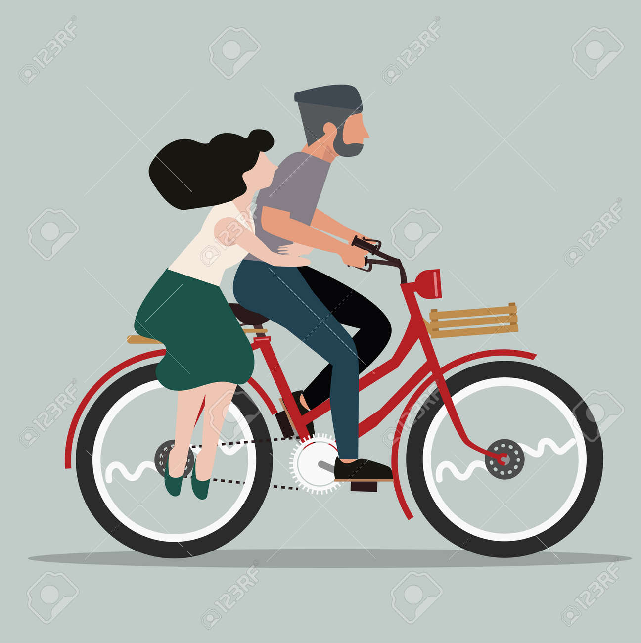 People Couple in love riding bicycle flat - 168920462