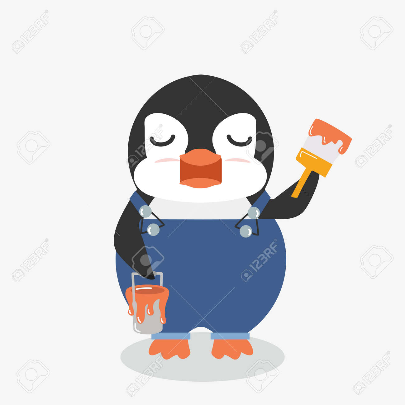 Penguin holds a brush cartoon Painting - 168920518