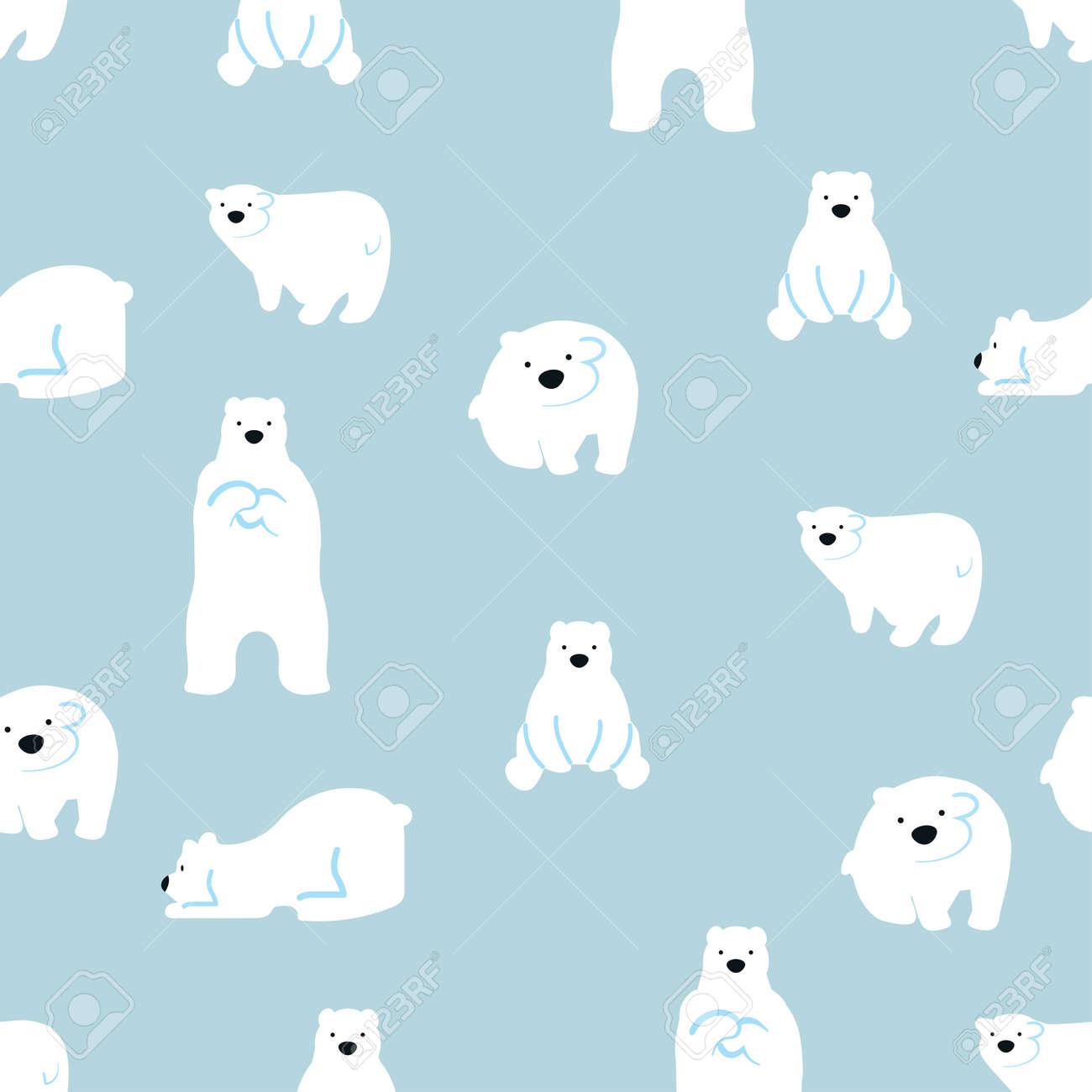 cute polar bears seamless pattern background - 168920548