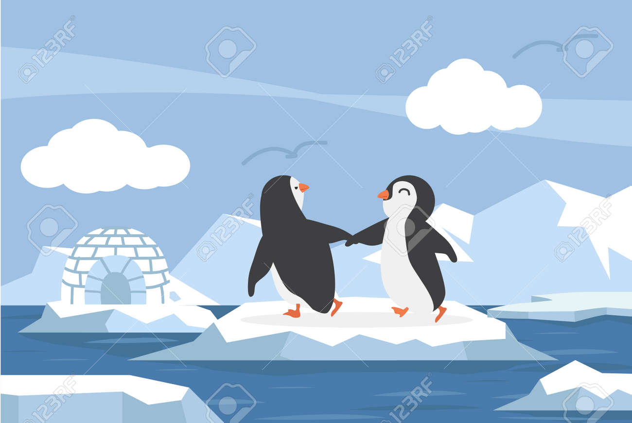 North pole Arctic in the ocean with couple penguins cartppm - 168920563