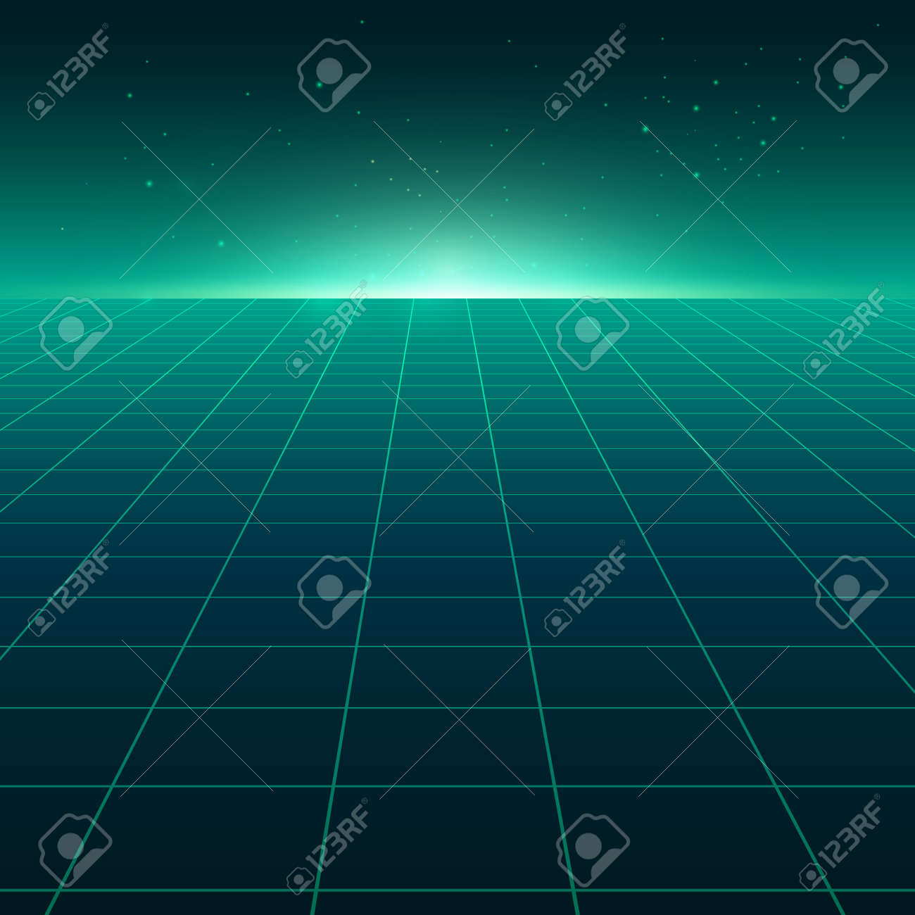 Abstract perspective green grid. Retro futuristic neon line on dark background, 80s design perspective distorted plane landscape composed of crossed neon lights and laser beams. Vector illustration - 154566257