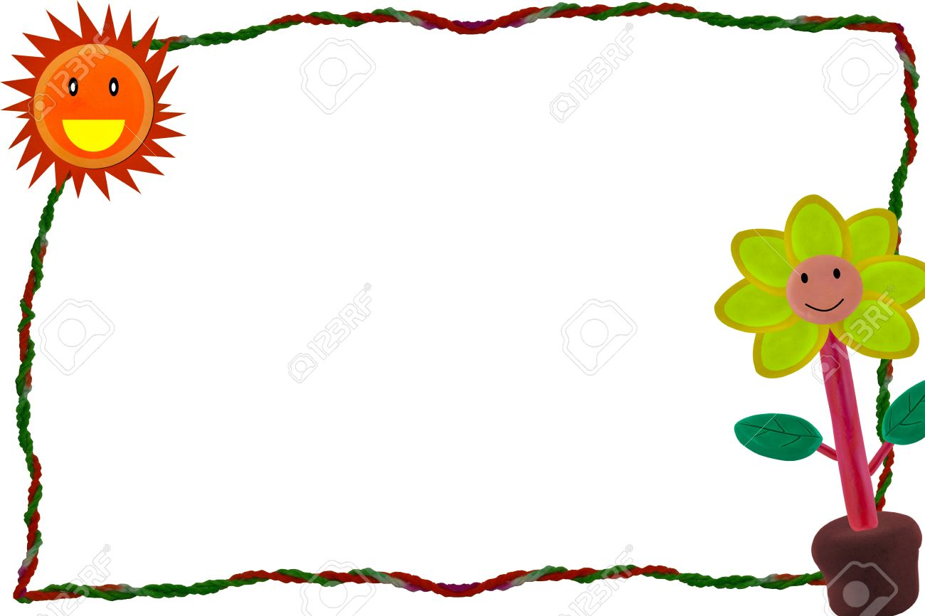 rope and clay flower create to be photo frame border Stock Photo - 16388648