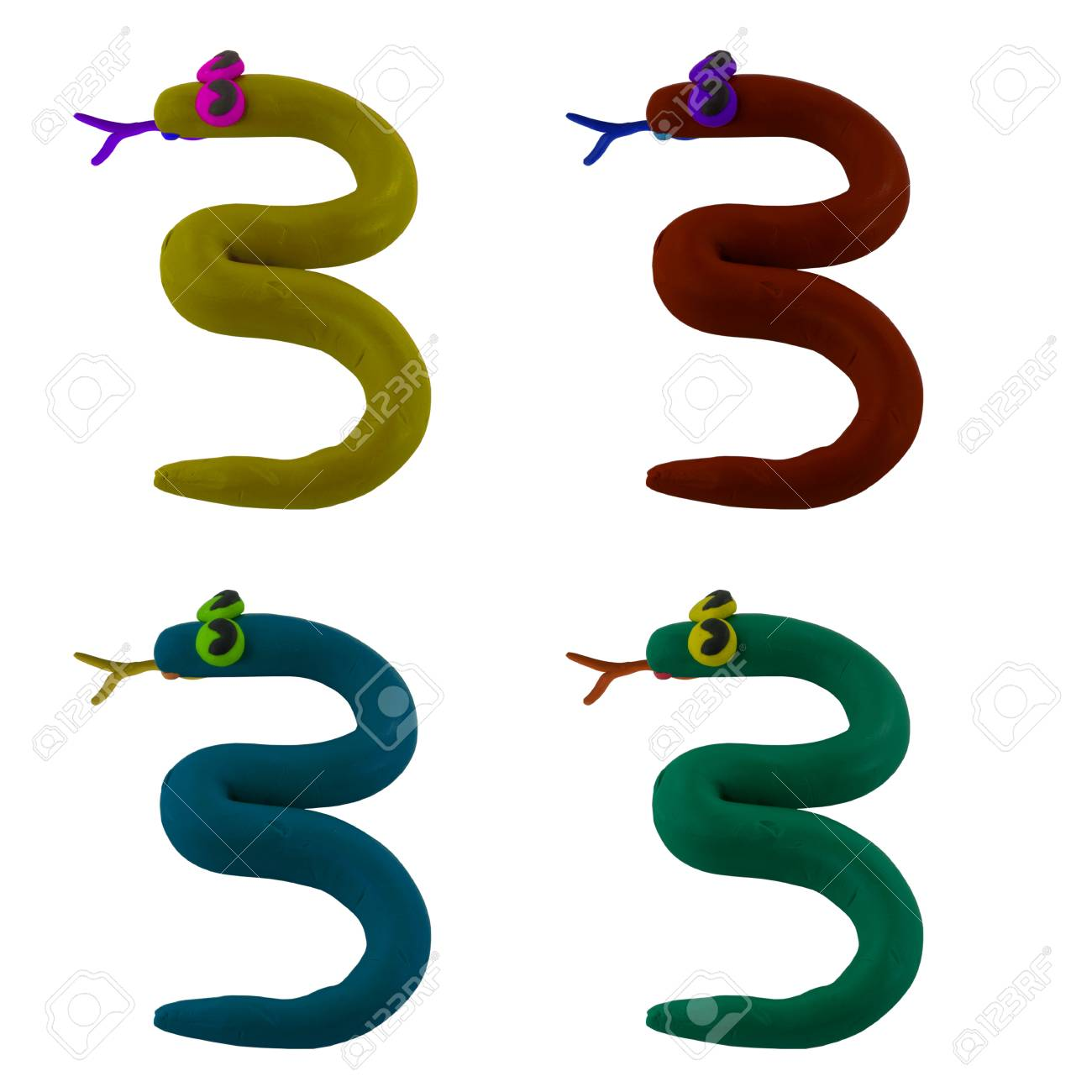 Clay snake create to number three Stock Photo - 16459716