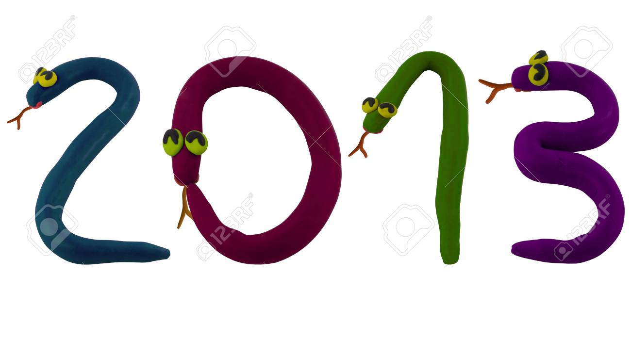 Smiling snake made from clay to word 2013 Stock Photo - 16459739