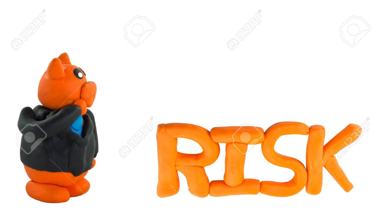Thinking Businessman pig and small risk wording concept risk management Stock Photo - 17921658