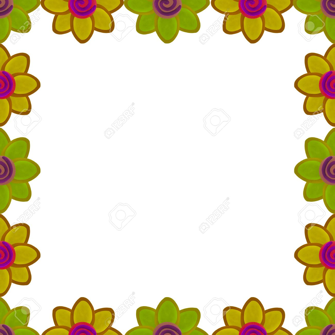 Yellow flower square border made from clay Stock Photo - 17921412