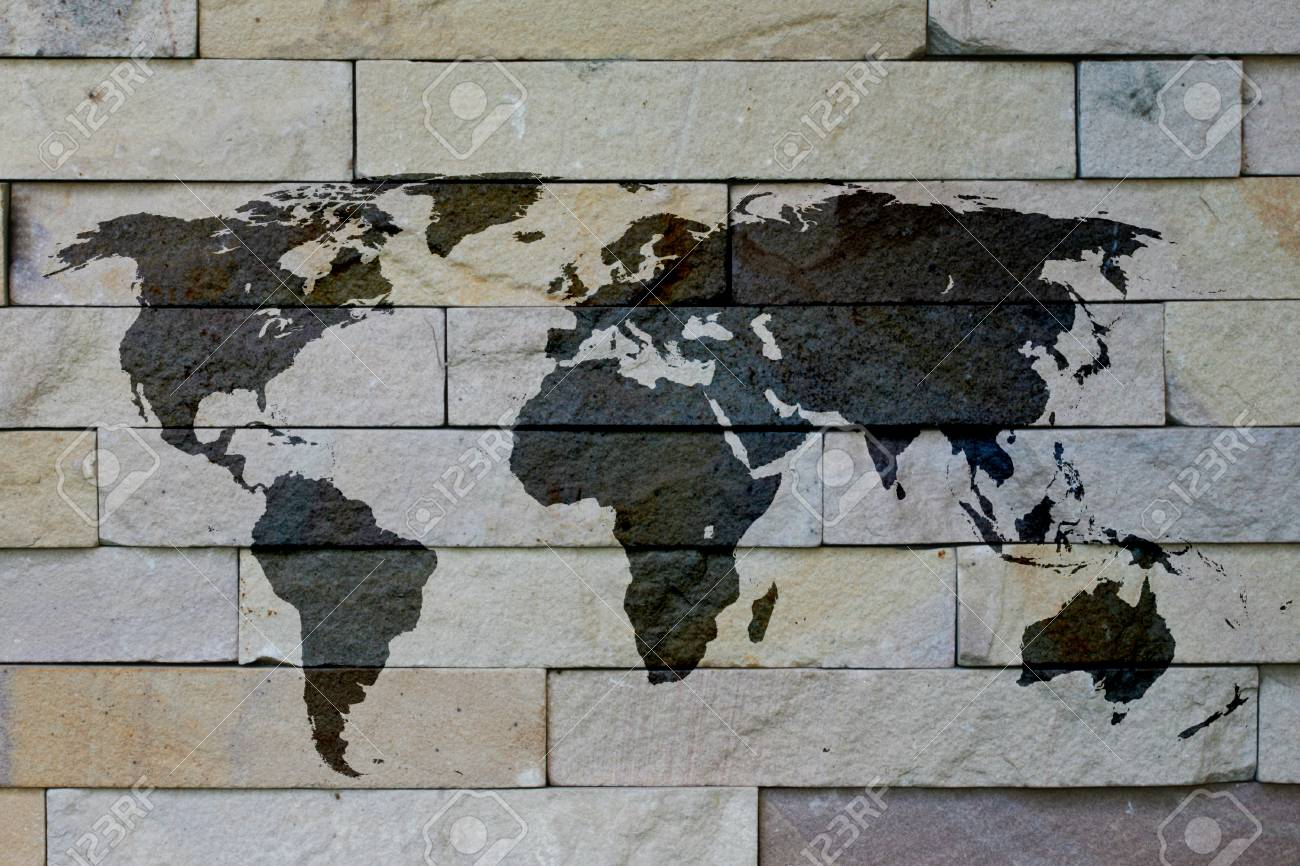 White brick texture wallpaper background and has world map on stock photo white brick texture wallpaper background and has world map on it gumiabroncs Gallery