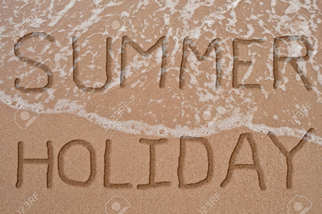 word summer and holiday on wave and sand in concept relax and