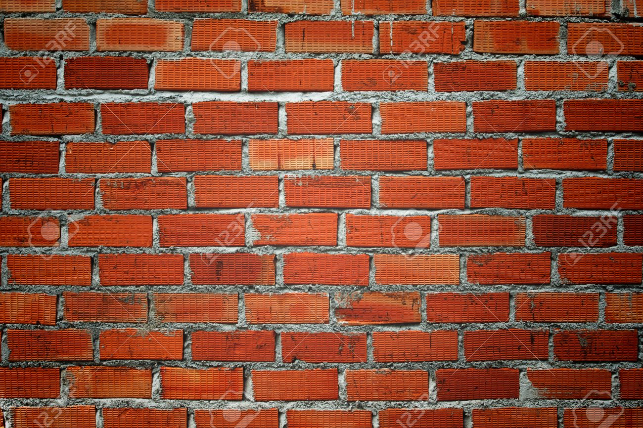 Orange Brick Wallpaper Texture Background Stock Photo