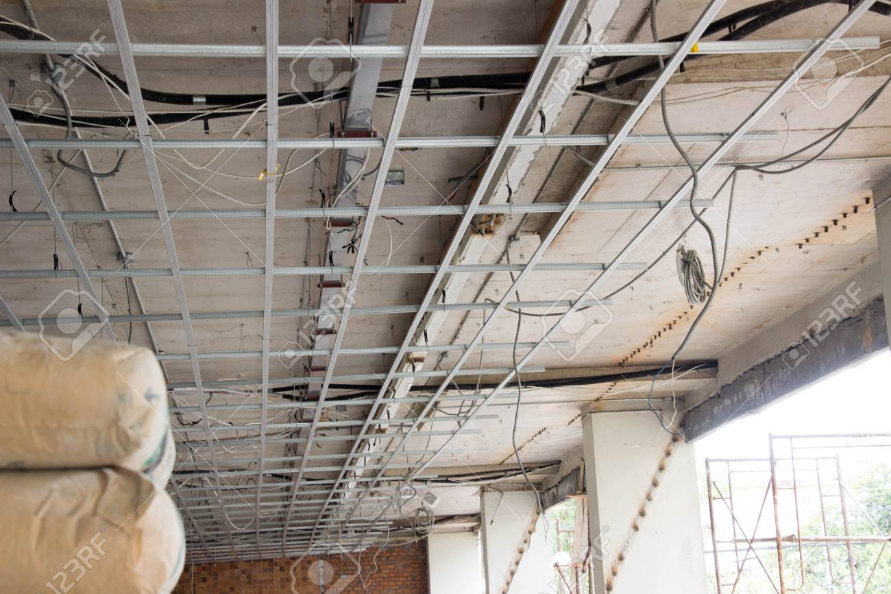 Ceiling Tiles And New Office Electrical System. Stock Photo   90378146