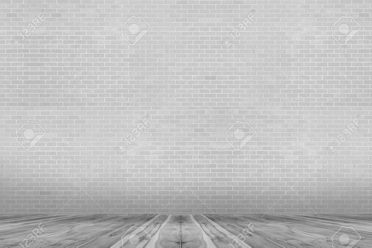 Graue Backsteinmauer Und Grauer Boden Holz Hintergrund Lizenzfreie