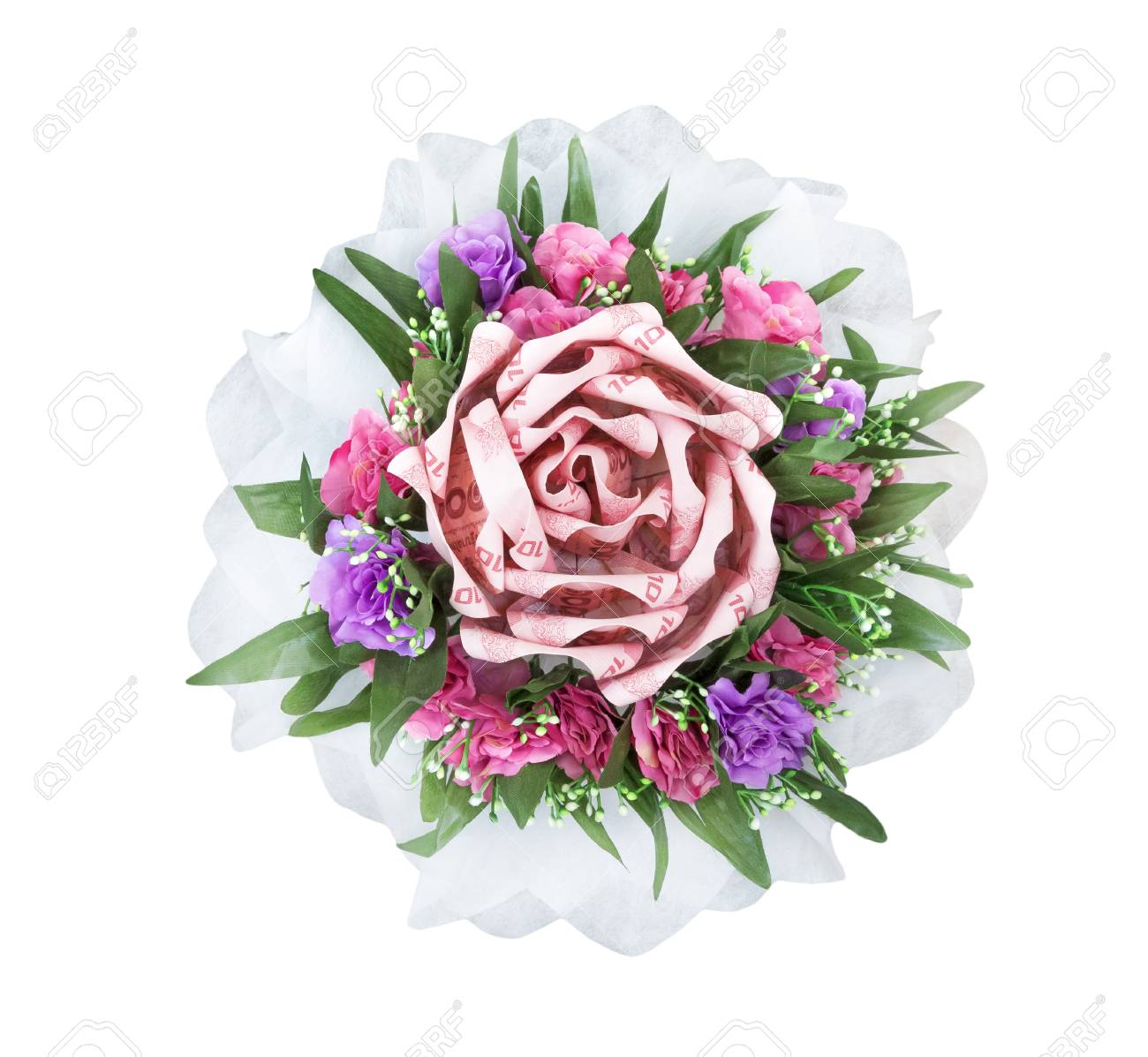 Bouquet Of Decoration Flower From Thai Money,isolated On White ...