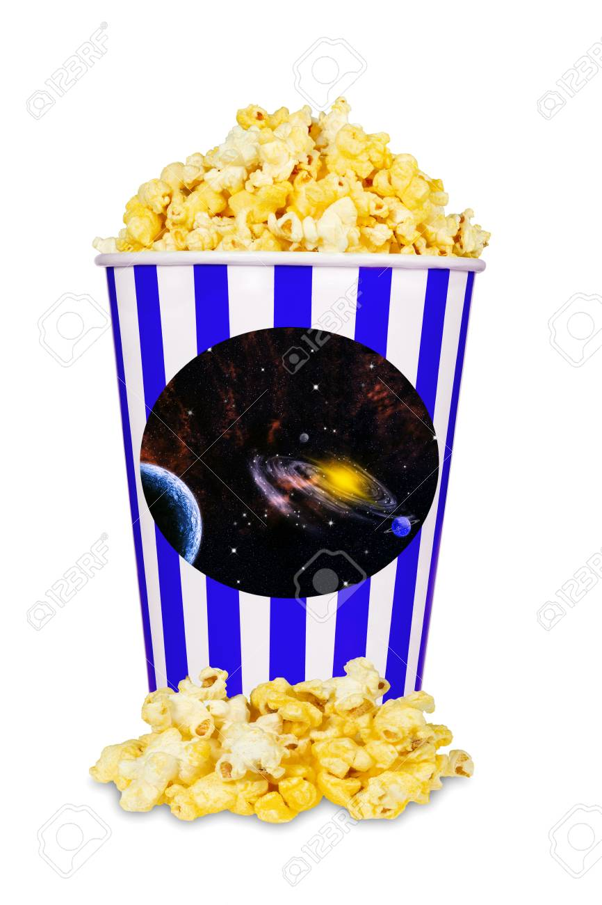Cheese Popcorn In Blue And White Striped Bucket Isolated On White Stock Photo Picture And Royalty Free Image Image 103379905