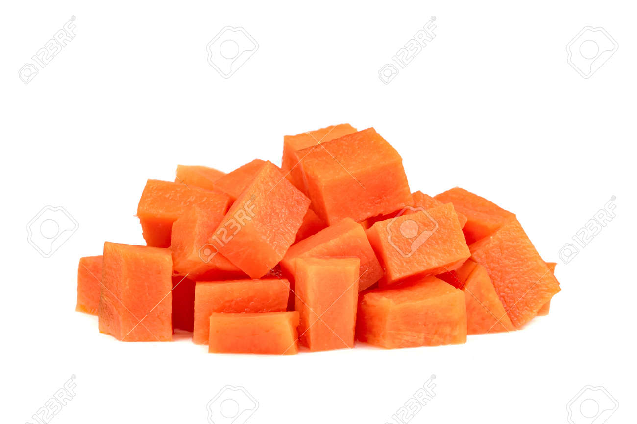 Chopped carrot isolated on white background - 160558536