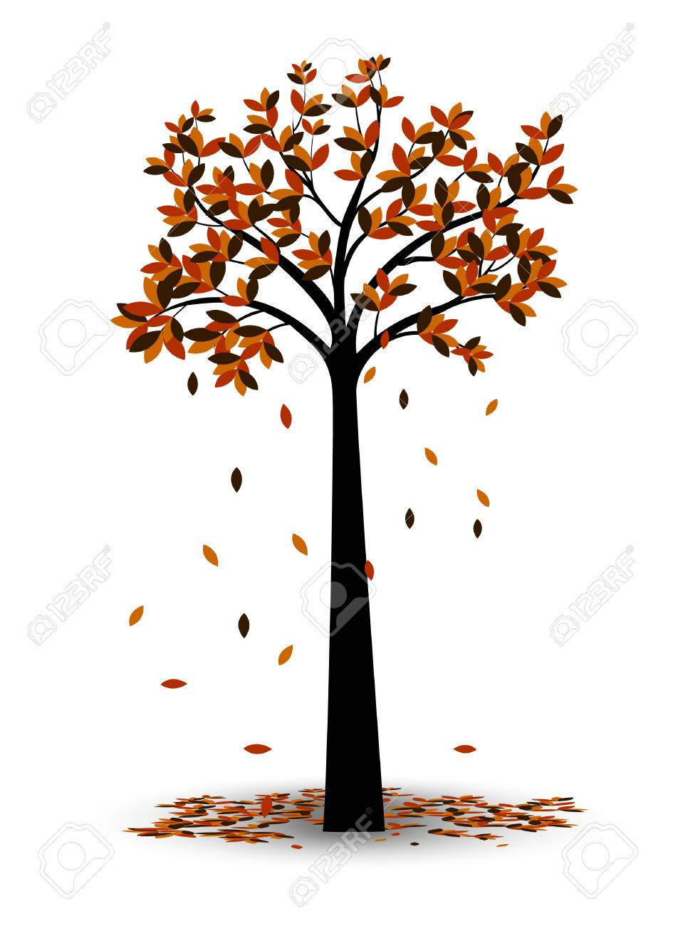 Decorative Autumn Tree Silhouette With Brown Leaves Royalty Free Cliparts Vectors And Stock Illustration Image 45709317