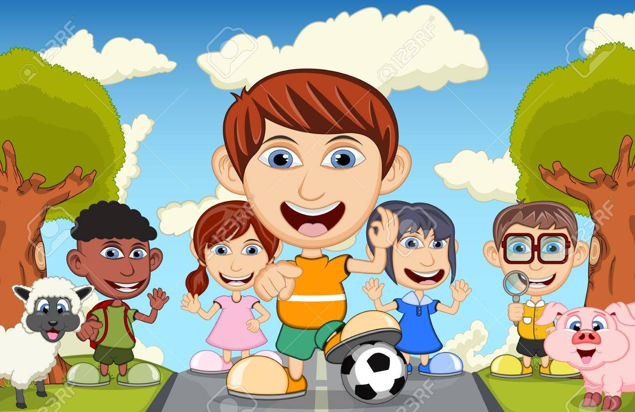 Folla bambini cartone animato clip art k fotosearch