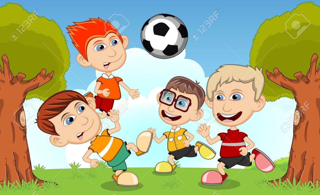 Ninos Jugando Al Futbol En La Calle De Dibujos Animados