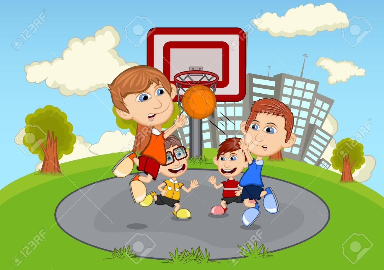 Cartone animato strada parco gioco bambini pieno colorare
