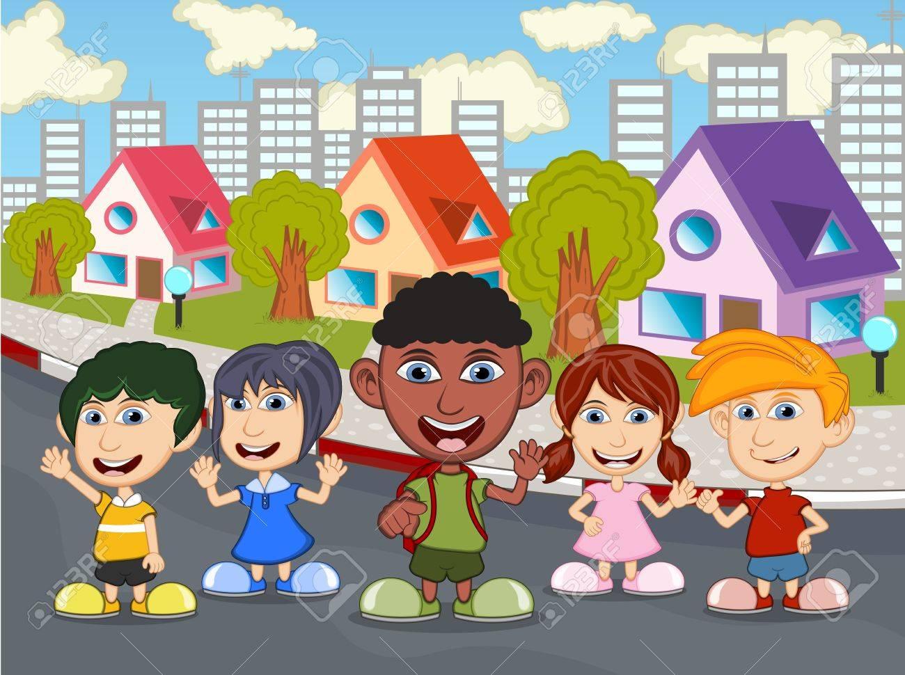 Ninos Jugando En La Calle De Dibujos Animados Ilustraciones