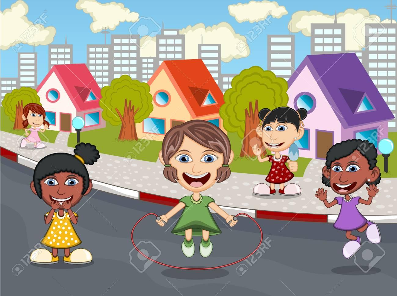 Ninos Jugando En La Calle De Dibujos Animados Fotos Retratos