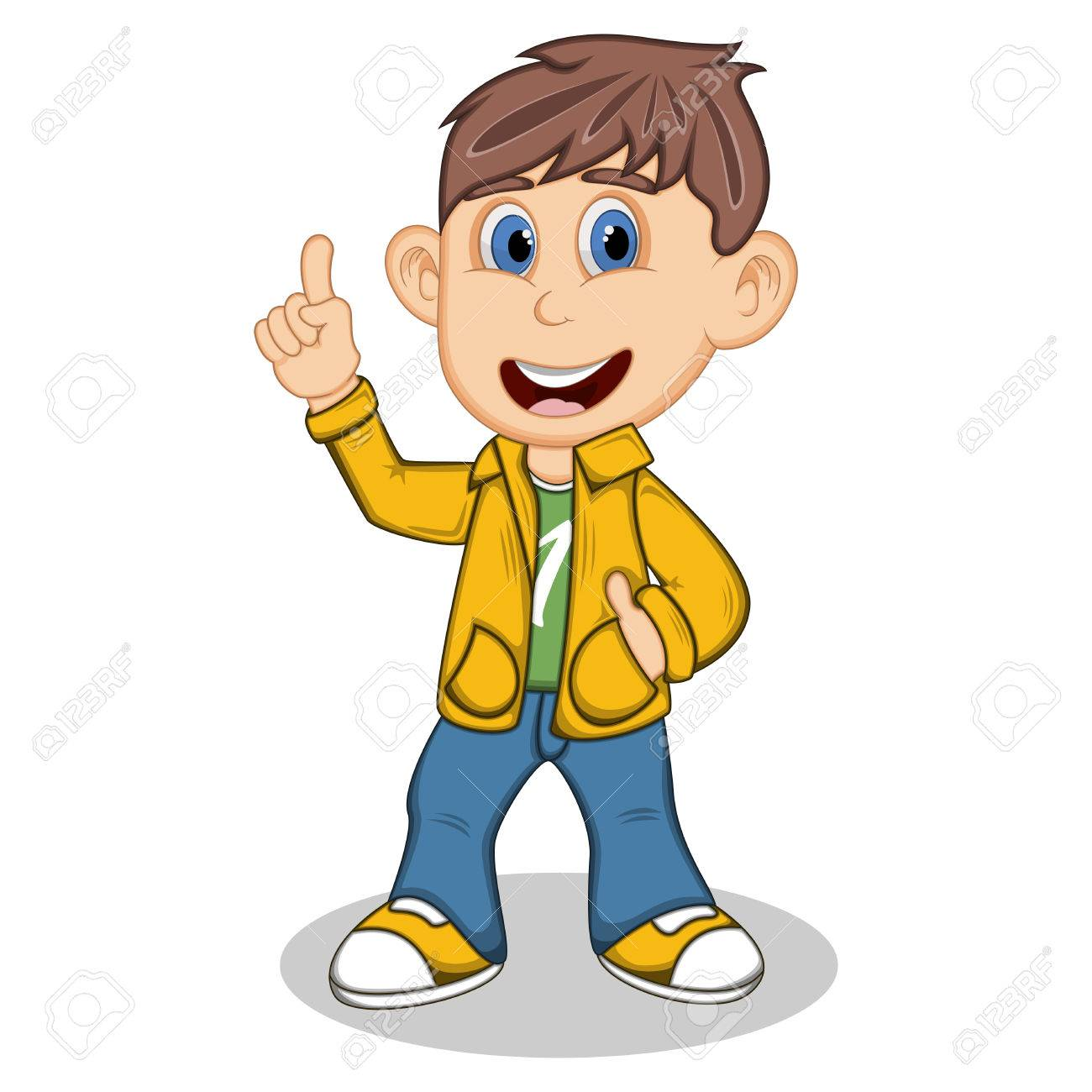 Boy With Yellow Jacket And Blue Trousers Point His Finger Cartoon