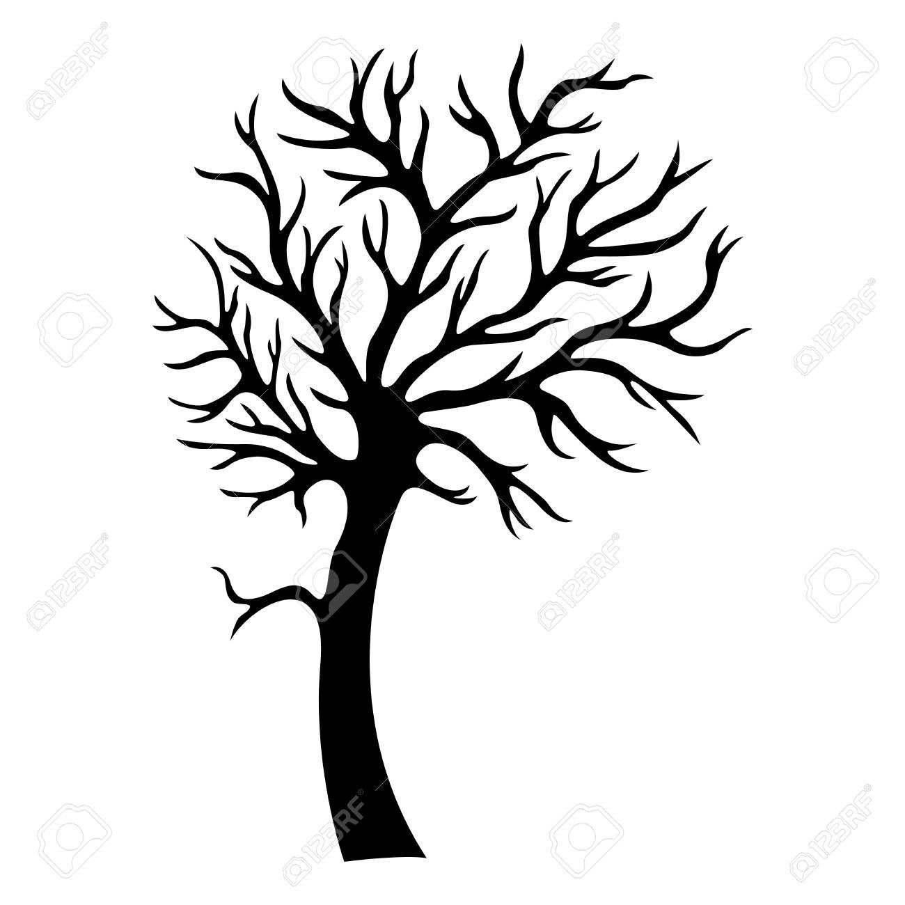 silhouette d'arbre décoratif clip art libres de droits , vecteurs et