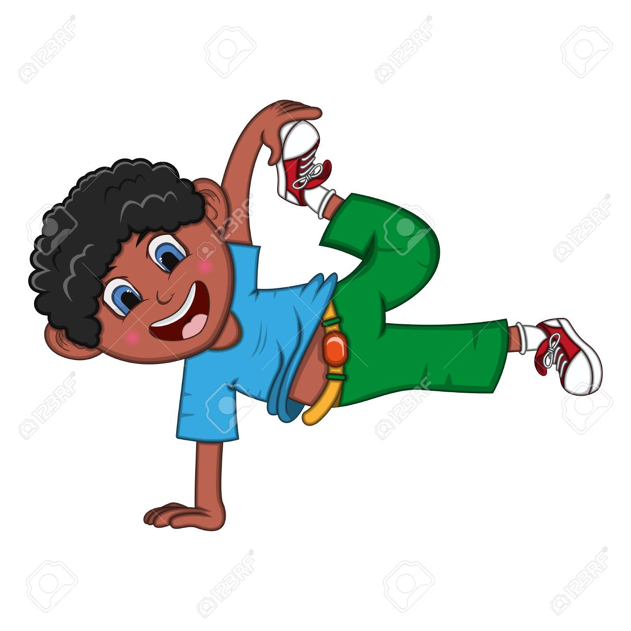 Dancing Boy Cartoon With Floating Pose Stock Vector