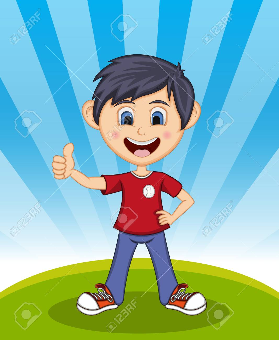 handsome little boy tumbs up with background cartoon royalty free