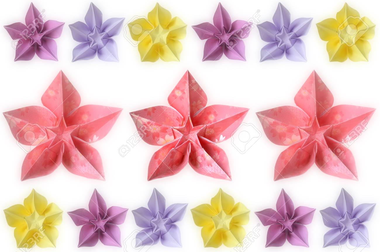 Origami Carambola Flower On White Background Stock Photo Picture