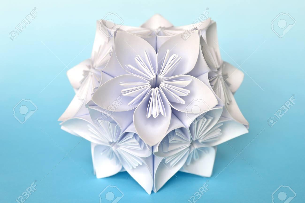 Origami kusudama flower ball on blue background stock photo origami kusudama flower ball on blue background stock photo 61250160 jeuxipadfo Gallery