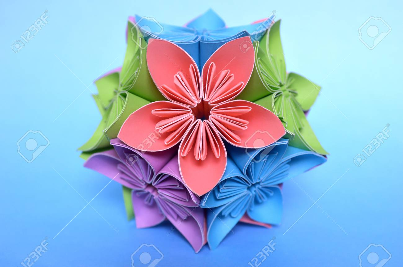 Origami Kusudama Flower Ball On Blue Background Stock Photo Picture