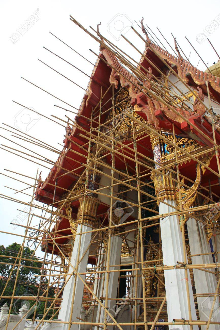 Renovation of old Buddhist Chapel , Wat Tham Mongkhon Thao Bunya Non Wihan Bangkok in Thailand Stock Photo - 14254050