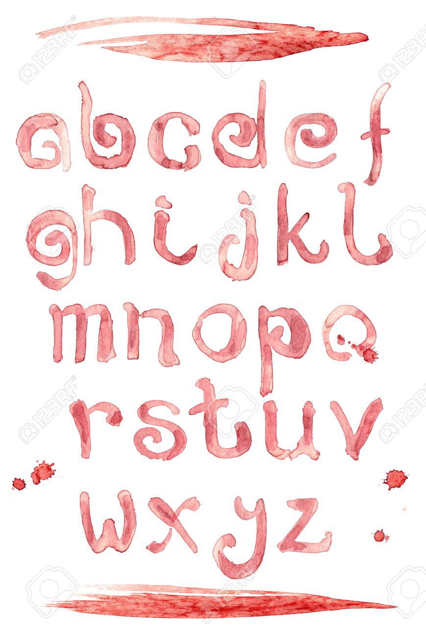 Red Wine Splash Special Font Abc A Z Small Letters Liquid Letter Stock Photo